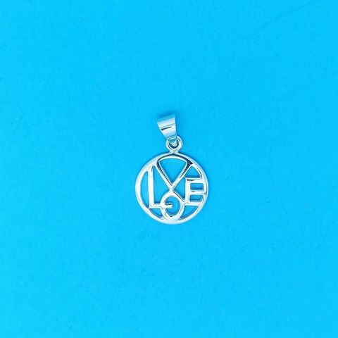 Genuine 925 Sterling Silver Round Cut Out Love Pendant